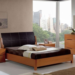 Stylish Leather High End Contemporary Furniture Set with Extra Storage - Natural wood modern bedroom set with black leather headboard. Modern Bedroom Set Composition 8 from Benicarlo Collection brings style and comfort to your home decor.