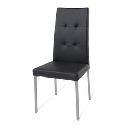 Zuri Furniture - Charlotte Black Dining Chair With Steel Frame - The exclusive Charlotte modern dining chair offers all the perks of modern seating with a few unique angular finishings. Charlotte features sophisticated black faux leather with beautiful tufting detail and stainless steel legs. The extra details result in an impressive design and luxurious comfort. Available in black or brown.