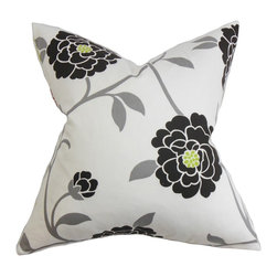 "The Pillow Collection - Graziella Floral Pillow Black - Dress up your living room or bedroom with this gorgeous accent pillow. This square pillow features a floral design with shades of black, gray, yellow, which is printed on a white background. A perfect choice for any setting and theme, this 18"" pillow provides elegance and comfort. Made with 100% soft and durable cotton material. Hidden zipper closure for easy cover removal.  Knife edge finish on all four sides.  Reversible pillow with the same fabric on the back side.  Spot cleaning suggested."