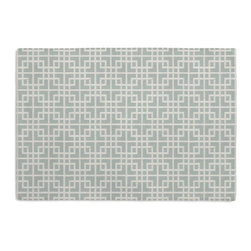 Aqua Woven Square Lattice Custom Placemat Set - Is your table looking sad and lonely? Give it a boost with at set of Simple Placemats. Customizable in hundreds of fabrics, you're sure to find the perfect set for daily dining or that fancy shindig. We love it in this interlocking square trellis woven in aqua blue & white with a hint of sheen. equal parts plush & posh.
