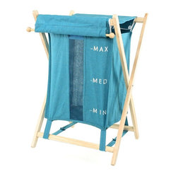 Gedy - Free Standing Laundry Basket, Blue - Laundry basket made of wood and cotton-polyester. Available in three beautiful colors- blue, orange and beige. Made and designed by high-end Italian brand Gedy.