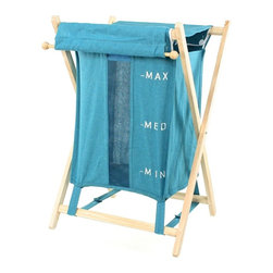 Gedy - Freestanding Laundry Basket, Blue - Laundry basket made of wood and cotton-polyester. Available in three beautiful colors- blue, orange and beige. Made and designed by high-end Italian brand Gedy.