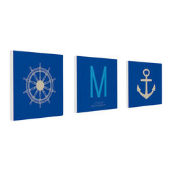 """Nursery Code - Nursery wall decor set of 3 standouts- Name initial and date of birth- Boys room - This listing is for set of three prints mounted professionally on 1"""" THICK STANDOUT."""