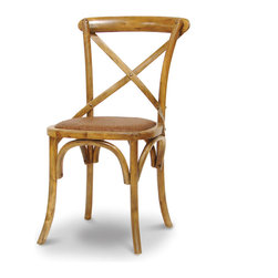 Palecek - Crossings Side Chair, Antique Oak - Plantation hardwood frame with bent wood back and cross detail. Woven cane matting over padded seat. Available only as shown.