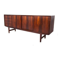 """Used Gorgeous Danish Modern Rosewood Sideboard - Very nice curved pulls & just the right patina to accent the 'Flames' on this Danish Modern Rosewood sideboard or credenza. While 77"""" long, this piece offers more of a 'lighter' feel compared to others."""