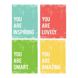 Rebecca Peragine Inc / Children Inspire Design - You Are Collection,  Set of Four 11x14 Children's Wall Art Prints - Inspire confidence in yourself and others with these hip retro prints, reminding you how special we all are indeed. Set of four 11x14 wall art prints