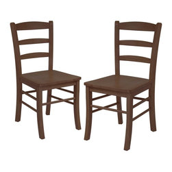 Winsome Wood - Groveland Ladder Back Chair in Antique Walnut - Set of 2. Very versatile. Use as a desk chair and a hall chair. Ladder-back styling is classic and will complement many design styles. Constructed of solid and composite wood. Assembly required. 16.6 in. L x 20.5 in. W x 34.7 in. H