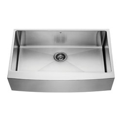 Vigo Industries - Stainless Steel 16 Gauge Single Bowl Kitchen Sink - Give your kitchen a makeover starting with a VIGO stainless steel farmhouse kitchen sink. All VIGO kitchen sinks guaranteed to never rust. This kitchen sink is cUPC certified by IAPMO.