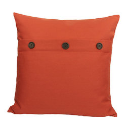 "Xia Home Fashions - 20"" Solid Color Pillow With Buttons, Pumpkin - Three faux buttons compliment this fashionably understated solid color pillow collection."