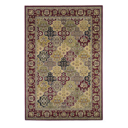 Cambridge 7325 Red Kashan Panel Rug - Our Cambridge Series is machine-woven in China of heat-set polypropelene. This line features a current color palette in classic and transitional patterns providing a well-designed and durable rug at a very affordable price point. No fringe.