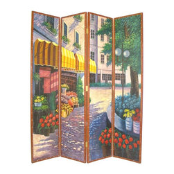 Wayborn - 4 Panel Hand-Painted Screen in Faux Leather - 4 Panels. Flower shop scene. Hand painted with faux leather boarder. Cedar plywood frame. Brush strokes & light crackle finish. 64 in. W x 72 in. H (45 lbs.)Hand painted screens start with a cedar plywood frame covered in a cheesecloth material. Then layer after layer of plaster is applied; each layer must dry before another layer can be applied. After all the plaster has been applied several coats of lacquer is put over the entire surface. At that time the artist begins to sketch out the painting directly on the panels of the screen and begins painting the design with water based paint. Once the painting is finished a faux leather border is applied on to the screen edges and held down with brass nails. Each one of these screens has its own characteristics and is truly a work of art.