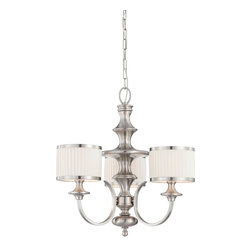 Nuvo Lighting - Nuvo Lighting 60/4734 Candice Three Light Chandelier With Pleated White Shades I - Candice - 3 Light Chandelier w/ Pleated White Shades