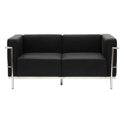 Modway - LC3 Loveseat in Black - Urban life has always a quandary for designers. While the torrent of external stimuli surrounds, the designer is vested with the task of introducing calm to the scene. From out of the surging wave of progress, the most talented can fashion a forcefield of tranquility. Perhaps the most telling aspect of the LC3 series is how it painted the future world of progress. The coming technological era, like the externalized tubular steel frame, was intended to support and assist human endeavor. While the aesthetic rationalism of the padded leather seats foretold a period that would try to make sense of this growth. The result is an iconic sofa series that became the first to develop a new plan for modern living. If previous generations were interested in leaving the countryside for the cities, today it is very much the opposite. If given the choice, the younger generations would rather live freely while firmly seated in the clamorous heart of urbanism. The LC3 series is the preferred choice for reception areas, living rooms, hotels, resorts, restaurants and other lounge spaces.