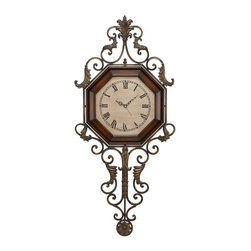Aspire - 39 in. Wrought Iron Wall Clock - This beautiful wall clock features a hexagonal shaped wood face and an elegant wrought iron frame. Cast metal designs decorate the iron. Metal and Wood. Color/Finish: Brown. Operates using one AA battery (not included). No pendulum or chime. 39 in. H x 18 in. W x 1 in. D. Weight: 6 lbs.