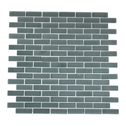 "GlassTileStore - Loft Blue Gray 1/2x2 Brick Pattern - Loft Blue Gray 1/2""x2"" Brick Pattern Glass Tile             Make your back splash the kitchen's, bathroom, or decorate room focal point by using this striking brick tile. Add some style to your decor! This should give it a more distinct look. The color is painted on the back of the tile so it will not scratch or chip off.         Chip Size: 1/2""x2""   Color: Blue Gray   Material: Glass   Finish: Polished and Frosted   Sold by the Sheet - each sheet measures 12"" x 12"" (1 sq. ft.)   Thickness: 8mm   Please note each lot will vary from the next.            - Glass Tile -"