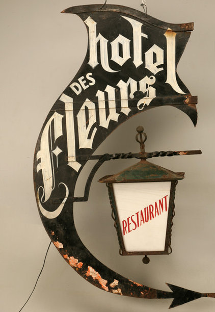 Vintage French Hotel and Restaurant Sign and Light