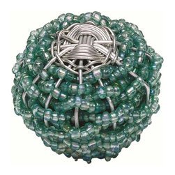 Atlas Homewares - Atlas Homewares 3158 Bollywood Small Beaded Weave Door Knob, Aqua - Atlas Homewares 3158 Bollywood Small Beaded Weave Door Knob, Aqua