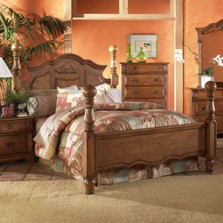Greystone - Bella Four Poster Bed - The Bella collection features classic design and brings lasting style and complete comfort to any bedroom. A rich pine finish adorns the decorative moldings and detailed wood carvings on this low poster bed. The camelback shape of the headboard, ball finials on the posts, and turned bun feet give this bed its antique charm. Strength and durability come from our kiln dried pine veneers and solid hard wood frame, while maintaining a flawless surface with beautiful color tones. Features: -Ball finial post.-Decorative moldings.-Detailed hand carvings.-Frame constructed of kiln dried solid pine hardwood.-Rich pine finish.-Bella collection.-Distressed: No.-Collection: Bella.Dimensions: -Overall Product Weight: 180.4 lbs.