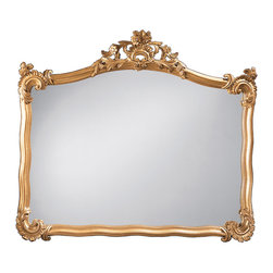 """Inviting Home - Neapolitan Style Horizontal Mirror - 18th century Neapolitan style horizontal mirror in antiqued gold leaf finish 42-1/2""""W x 36-1/2""""H x 3""""D hand-crafted in Italy 18th-century Neapolitan style horizontal wall mirror with leaf scrolls and floral motif. Mirror has a carved wood frame with hand applied antiqued gold metal leaf finish. This wall mirror is hand-crafted in Italy."""