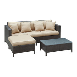 Outdoor Wicker Patio 3 Piece Sofa Set