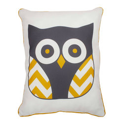THRO - Lemon Curry Reversible Owl Pillow - Add enchanting character to your d̩cor with this darling owl pillow, which offers plush comfort and a handy reversible feature. �� 14'' W x 18'' H Polyester Spot clean Imported