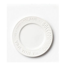 """Vietri Metro Milano White Salad Plate Italian Dinnerware - The Milano salad plate from VIETRI's new Metro collection is handcarved to depict some of VIETRI Founder Susan Gravely's favorite spots within this grand Italian city. The clean white glaze and classic shape makes this plate perfect for enjoying salads or appetizers on any occasion. Handmade of Italian stoneware in Tuscany. Microwave, freezer, dishwasher and microwave safe. This piece measures approximately 9""""D."""