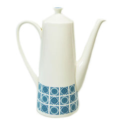 Lavish Shoestring - Consigned Tapered Coffee Pot in Blue and White by Royal Tuscan, Vintage English - This is a vintage one-of-a-kind item.