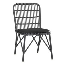 Kruger Black Dining Chair with Sunbrella® Black Cushion - Safari casual tracks contemporary in bamboo-inspired lattice design fashioned of sleek black resin wicker over powdercoated aluminum. Lightweight chair travels inside or out and is perfectly scaled for small spaces. Easy-care Sunbrella® acrylic matching cushionis fade-, water- and mildew-resistant.