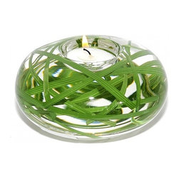 Grass Medium T-Light - This Accent Decor Collection of T-lights creates a serene and spa-like environment for everything from your candle-lit dinner to a soothing bubble bath. Filled with exclusive grass medium t-light and illusion water this tea light, hand-crafted in the USA, makes a fantastic gift for a loved one or an indulgent treat for yourself.