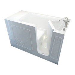 Spa World Corp - Meditub 30x60 Right Drain White Whirlpool Jetted Walk-In Bathtub - Meditub's walk-in bathtub offers safety and independence in an elegant package. Featuring safety features such as a built in color matched grab bar, non-slip floor texture and a wide swinging door for easy entering and exiting of the tub. Fusing the industry�s highest standards for quality construction with an inspired artistic vision offering a beautifully glossy finish reinforced with a stainless steel frame and 6 adjustable legs for leveling. Also included is an ADA compliant contoured seat for comfortable support.