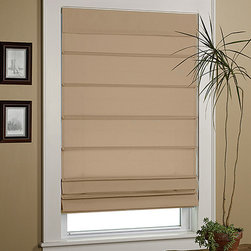 Green Mountain Vista - Taupe EZ-Glide Insulated Roman Shade - Paneled for insulation and conveniently cordless, you won't have to fumble around in frustration when you're trying to shut out late-afternoon glare.   Polyester Imported
