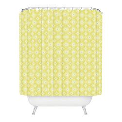 DENY Designs - Caroline Okun Yellow Spirals Shower Curtain - Who says bathrooms can't be fun? To get the most bang for your buck, start with an artistic, inventive shower curtain. We've got endless options that will really make your bathroom pop. Heck, your guests may start spending a little extra time in there because of it!