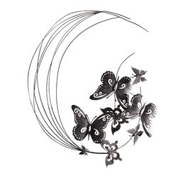 "Pier Surplus - Metal Wall Decor Flying Butterflies Sculpture #HD229088 - A unique, eye-catching wall sculpture that features exquisite large and small butterflies with carefully etched details and wing designs, this wall decor has been masterfully crafted from metal and each delicate wing has been painted by hand in matte black. Each metal butterfly is easy to maintain; simply wipe off dirt or dust with a mild soap and a damp cloth. A wonderful hostess or housewarming gift! 27.6""  W x 31.5"" H"