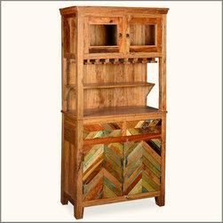 Farmhouse Reclaimed Wood Wine Glass Holder Sideboard & Hutch -