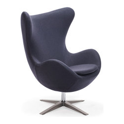 Zuo Modern - Zuo Modern Skien Arm Chair Iron Gray - Arm Chair Iron Gray belongs to Skien Collection by Zuo Modern The Skien Chair takes its inspiration from modern European design and mixes it with American details such as the soft wool-like texture of the fabric and the vibrant color offerings. The base is chrome with swivel. Arm Chair (1)