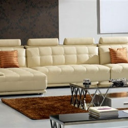 Lacey 3-Pieced Leather Sectional - Modern Sectional Sofa - Lacey 3-Pieced Leather Sectional - Modern Sectional Sofa