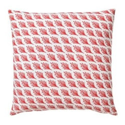 Serena & Lily - Captiva Outdoor Pillow Cover Paprika - Taken from one of Serena's watercolors, each leafy frond is just slightly different from the next and printed on the diagonal for a subtle sense of movement. The delicate pattern looks striking on a white ground.