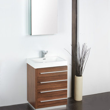 "Fresca - Fresca Livello 24"" Walnut Modern Bathroom Vanity W /Faucet & Medicine Cabinet - At a width of 23.38"" and a height of 33.35"", the Fresca Livello bathroom vanity is perfect for smaller spaces. With a minimalistic and contemporary design, this vanity will make your bathroom feel like a modern oasis."