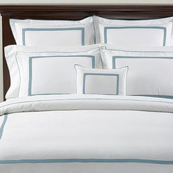 "Morgan 400-Thread-Count Duvet Cover, King/Cal. King, Aqua - Our popular Morgan bedding is tailored with flat piping and a slim mitered border - a handsome frame for an embroidered monogram. 100% cotton percale. 400 thread count. Tailored with flat contrasting piping and a mitered border. Duvet cover has hidden faux-shell button closure and interior ties to keep the duvet in place. Sham has an envelope closure; insert is sold separately. Machine wash. Catalog / Internet only. Imported. Monogramming is available at an additional charge. Monogram is 3"" will be centered on the duvet cover and the sham."