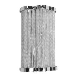 Valor Metal Chain Wall Sconce - Valor Metal Chain Wall Sconce The Valor wall sconce is made of strands of metal draped together to give an elegant shimmer to the light that it emits. Accented in Chrome.Material: Aluminum, Carbon Steel
