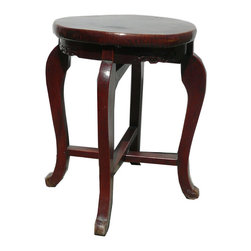 Golden Lotus - Vintage Chinese Leather Top Lacquer Round Stool - This is a traditional Chinese stool hand made with wood and no nail joint technque. The special of this stool is the seat top is a layer of leather ( just like the leather on the drum which provide sound ). This one is also with the drum feel tone by tapping on it. ( four in stock, minor variation in finish )