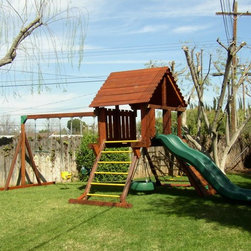 Refurbished Rainbow Play Set - Rainbow Play set 5ft. deck height, wood roof, swivel tire, rock wall, Rave slide and 3 position swing system.