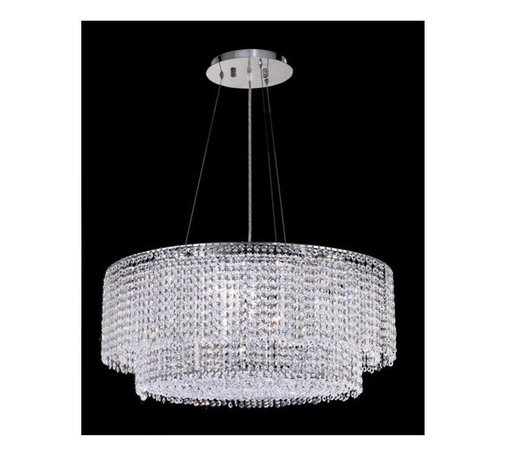 Elegant Lighting - Moda Clear Crystal Chandelier w 5 Lights in Chrome (Strass Swarovski) - Choose Crystal: Strass Swarovski. 6 ft. Chain/Wire Included. Bulbs not included. Crystal Color: Crystal (Clear). Chrome finish. Number of Bulbs: 5. Bulb Type: GU10. Bulb Wattage: 55. Max Wattage: 275. Voltage: 110V-125V. Assembly required. Meets UL & ULC Standards: Yes. 28 in. D x 11 in. H (38lbs.)Description of Crystal trim:Royal Cut, a combination of high quality lead free machine cut and machine polished crystals & full-lead machined-cut crystals..SPECTRA Swarovski, this breed of crystal offers maximum optical quality and radiance. Machined cut and polished, a Swarovski technician¢s strict production demands are applied to this lead free, high quality crystal.Strass Swarovski is an exercise in technical perfection, Swarovski ELEMENTS crystal meets all standards of perfection. It is original, flawless and brilliant, possessing lead oxide in excess of 39%. Made in Austria, each facet is perfectly cut and polished by machine to maintain optical purity and consistency. An invisible coating is applied at the end of the process to make the crystal easier to clean. While available in clear it can be specially ordered in a variety of colors.Not all trims are available on all models.