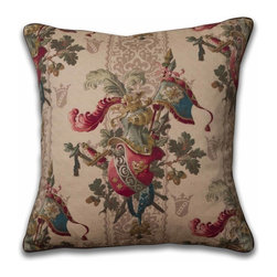 Mary Jane McCarty Studio - Lancelot Pillow, With Insert - The pillow cover is made from The Mary Jane McCarty Studio collection of fabrics. The fabrics have been  re- created from 19th century document textiles . The pillow is backed with a coordinating natural Belgian linen and features an envelope closure. Please allow 2 to 3 weeks for delivery as pillows are made to order. Can be purchased as cover only or with insert.
