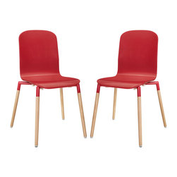 LexMod - Stack Wood Dining Chairs Set of 2 in Red - Acquaint yourself with an intelligent piece concealed behind sheer simplicity. Stack exhibits fluid lines and an organic form in a seamless transition from the abstract to the definite. Made from a painted durable steel top and solid beech wood legs, Stack coalesces both form and purpose in a harmoniously designed piece that matches well in any uncomplicated decor.