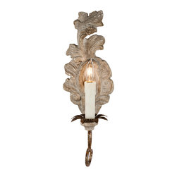 Kathy Kuo Home - Verdure French Country Carved Wood Leaf Wall Sconce - Pair - Simple and yet sophisticated, this fragment adds the right amount of gold to any setting.
