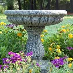 Ladybug - Fluted Bird Bath in Moss Finish - Weather resistant finish. Pedestal bird bath. 1-Year warranty. Made in USA. Made of pecan shell resin. 14.50 in. W x 14.50 in. D x 15 in. H (8 lbs.)The finishes are applied by hand, enhancing every detail, and resulting in the uniqueness of no two pieces being exactly alike. Each individually hand-crafted piece of Ladybug product is cast in a crushed marble or resin composition which has the ability to capture and reproduce the same definition and minute detail as the original. It is a substantial, non-porous material which does not absorb moisture, making it ideal for outdoor use, although it offers the strength and durability required to endure even extreme weather conditions.
