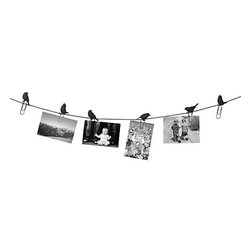 Birds on a Wire Photo Display - These blackbirds on a clothesline are ready, willing and able to hold your family's treasured photos and mementos. Pretty clever!