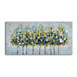 Metropolis trees Hand Painted Canvas Art - Modern interpretations. This original piece of art adds a pop of color and pattern to your walls. Each is hand painted by the artist for one-of-a-kind character.