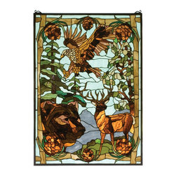 Meyda Tiffany - Meyda Tiffany Wilderness Tiffany Window X-23777 - From the Wilderness Collection, this Meyda Tiffany window depicts multiple animals living together harmoniously. Beautiful earth tones highlight the finer details, such as the pine trees in the backdrop, the feathers, the antlers and so forth. Ideal for an array of decors from rustic to traditional.
